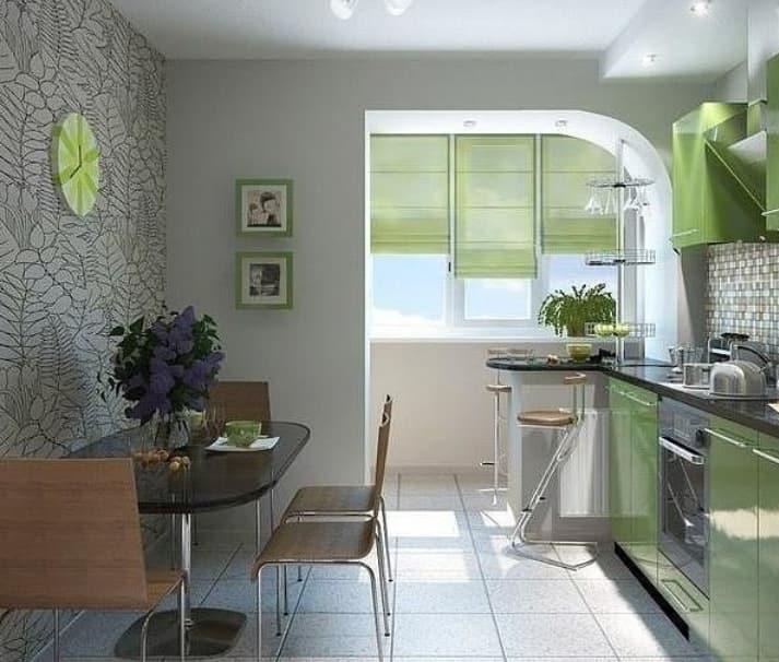 Дизайн кухни совмещенной с французским балконом фото..